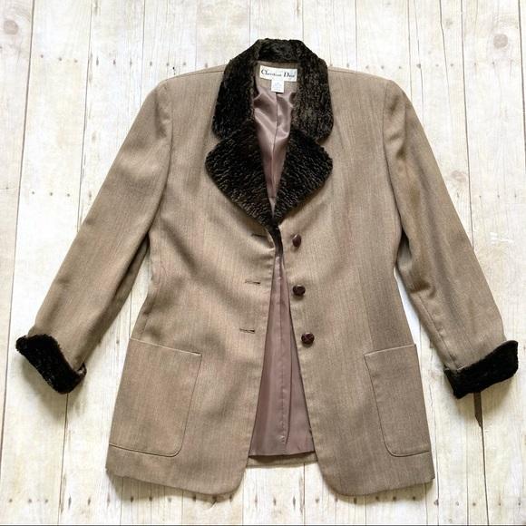 Vintage Christian Dior Faux Fur Trimmed Blazer 6